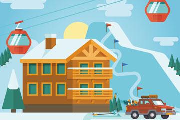 创意冬季度假滑雪场矢量素材