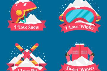 4款创意冬季运动标签矢量素材