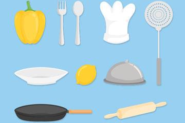 13款彩色厨房用品矢量素材