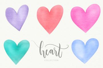 8款水彩绘爱心设计矢量素材