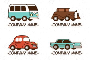 4款彩色车辆标志矢量素材