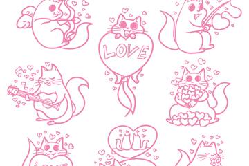 8款创意猫天使矢量素材