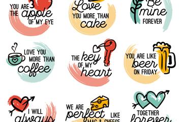 9款彩绘情人节语言标签矢量图