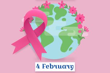 创意世界癌症日丝带和地球矢量图