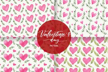 4款彩绘粉色爱心和树枝无缝背景矢量图