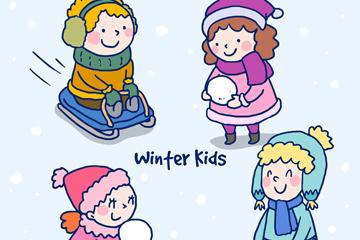 4款可爱冬季儿童矢量素材