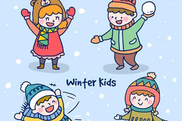 4款冬季玩耍儿童矢量素材