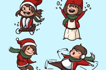 4款快乐冬季儿童矢量素材