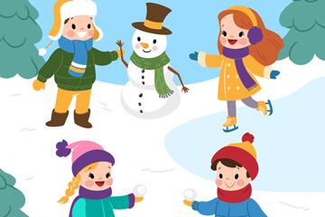4个创意雪地玩耍的儿童矢量素材