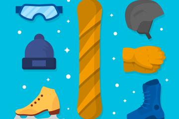 7款创意冬季运动装备矢量素材