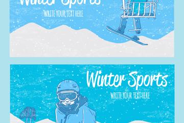 2款彩绘冬季运动banner矢量素材