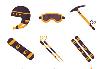 9款创意冬季运动装备矢量素材