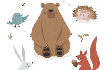 5款可爱冬季森林动物矢量素材