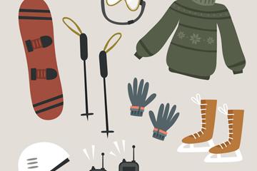 9款创意冬季运动器材和服饰矢量