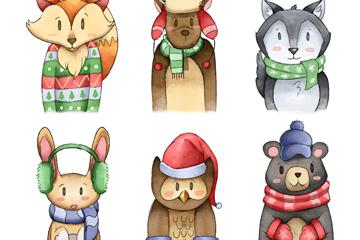6款彩绘冬季服饰动物矢量素材