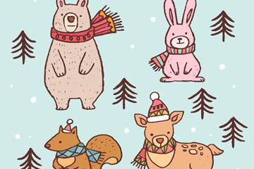 4款彩绘冬季动物设计矢量素材