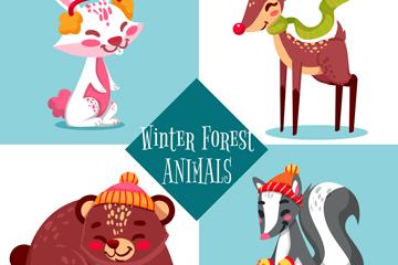 4款卡通冬季微笑动物矢量素材