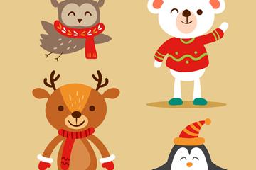 4款创意微笑冬季动物矢量图