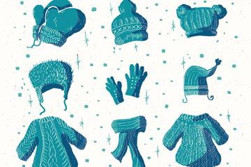 9款蓝色冬季服饰和配饰矢量图