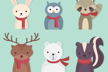 6款创意冬季森林动物半身像矢量图