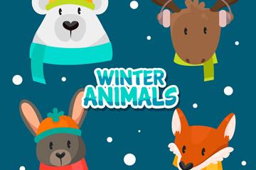4款卡通冬季动物头像矢量素材