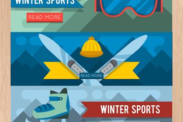 3款创意冬季运动banner矢量图