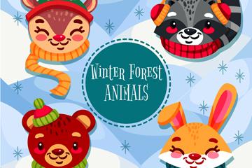 4款卡通微笑冬季动物头像矢量图