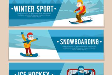 3款创意冬季运动男子banner矢量