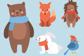 5款创意微笑冬季动物设计矢量素材
