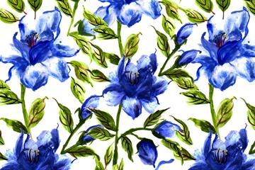 手绘蓝色花卉无缝背景设计矢量图