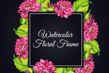 水彩绘莲花框架矢量素材