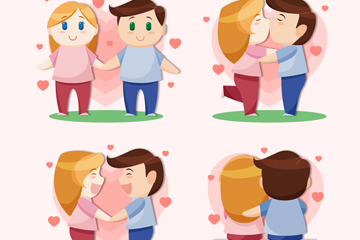 4款卡通幸福情侣矢量素材