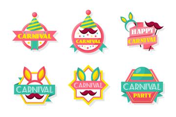 9款彩色狂欢节标签矢量素材