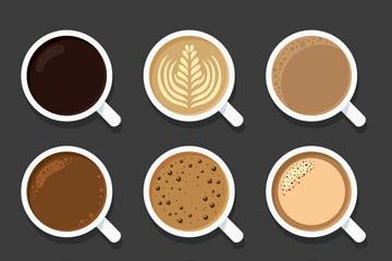 9款美味咖啡俯视图设计矢量素材