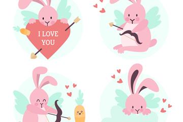 4款粉色情人节兔子矢量素材