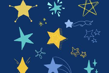 12款彩绘星星设计矢量素材