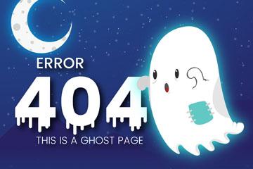 创意404页面夜晚的幽灵矢量素材