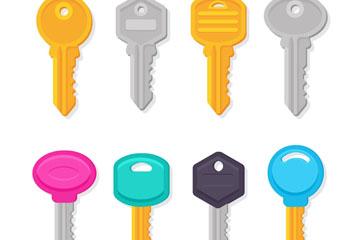8款彩色钥匙设计矢量素材