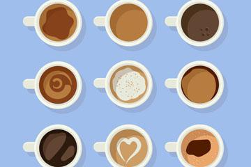 9款创意咖啡俯视图矢量素材