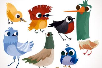 7款可爱鸟类设计矢量素材