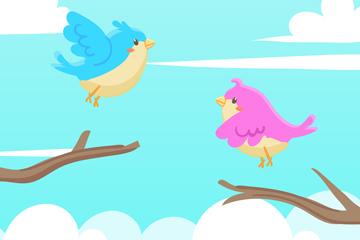 卡通树枝上的2只鸟矢量素材