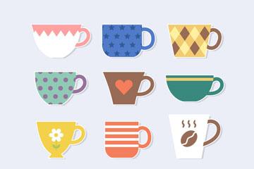 12款彩色咖啡贴纸矢量素材