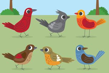 6款卡通站在地上的鸟类矢量图