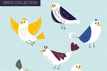 6款手绘鸟类设计矢量素材