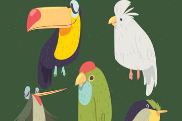 5款手绘鸟类设计矢量素材