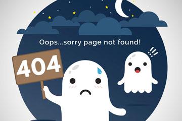 创意404页面幽灵矢量素材