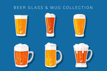9款新鲜杯装啤酒矢量素材