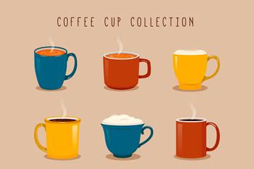 9款彩色杯装咖啡矢量素材
