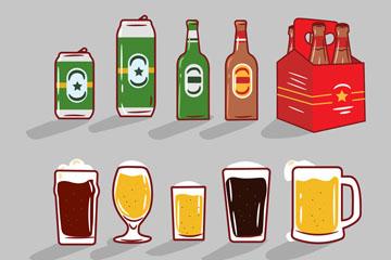 10款彩绘啤酒设计矢量素材