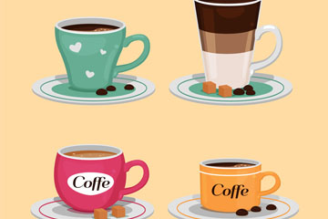 4款美味杯装咖啡矢量素材
